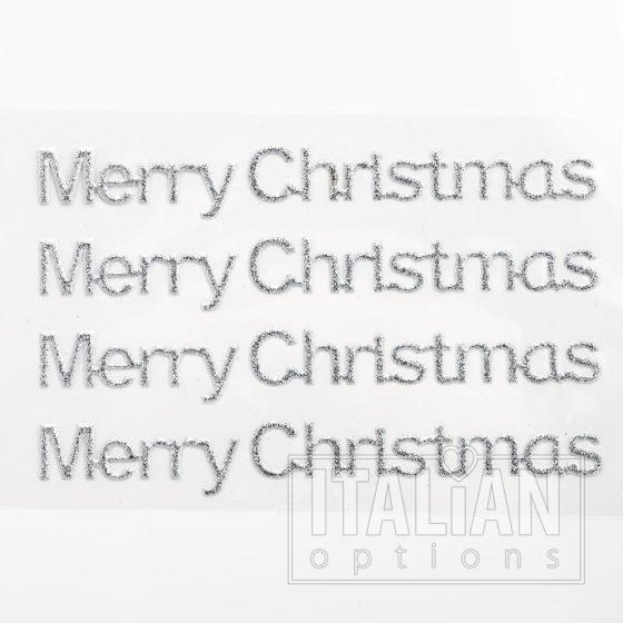 Silver Glitter 'Merry Christmas' on sheet - 1 x 10cm - (4 pcs)