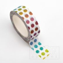 Adhesive Washi Tape - Colourful Dots 15mm x 10m