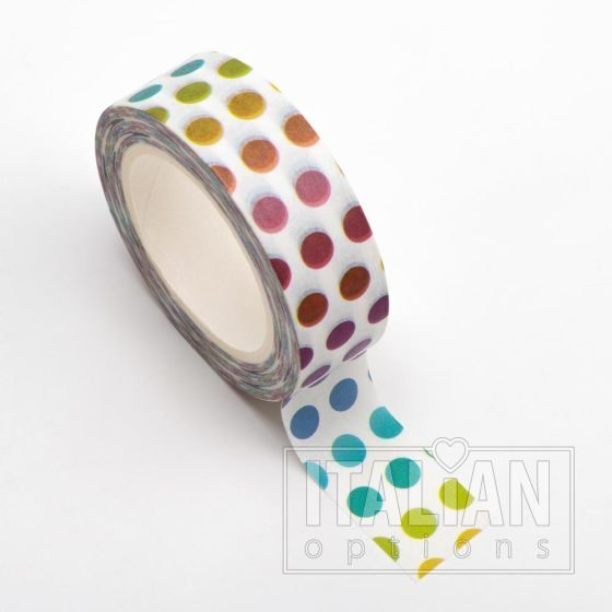 Adhesive Washi Tape - Colourful Dots 15mm x 10m