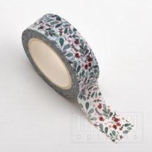 Adhesive Washi Tape - Red Bud Green Leaf 15mm x 10m