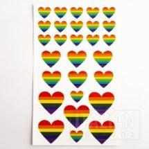 Rainbow Heart Stickers (2 Sheets - 56pcs)
