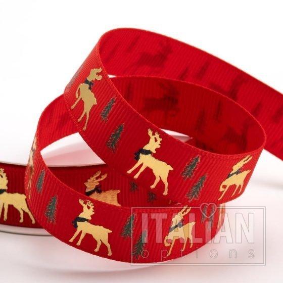 Golden Stag Christmas Grosgrain Ribbon - 16mm x 5M - Red