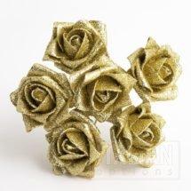 Gold Glitter 5cm Colourfast foam rose - bunch of 6