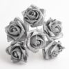 Silver Glitter 5cm Colourfast foam rose - bunch of 6