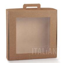 Rustic Kraft Carry Box with Window 290x290x90mm