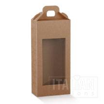 Rustic Kraft Carry Box with Window 130x70x280mm