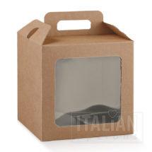 Rustic Kraft Carry Box with Window 210x210x210mm