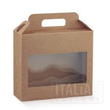 Rustic Kraft Carry Box with Window 220x80x195mm