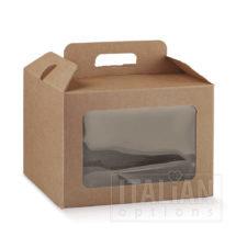 Rustic Kraft Carry Box with Window 245x245x180mm