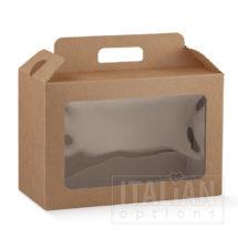 Rustic Kraft Carry Box with Window 290x145x190mm