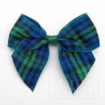 10cm Tartan Bow - Green/Blue - (Self Adhesive) - 6 Pack - 38mm Ribbon