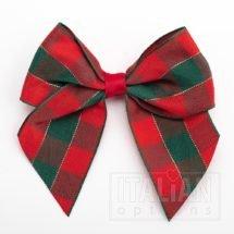 10cm Tartan Bow - Red/Green - (Self Adhesive) - 6 Pack - 38mm Ribbon