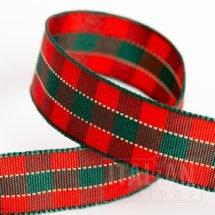16mm Tartan Ribbon Red/Green x 10M