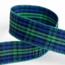 16mm Tartan Ribbon Green/Blue x 10M