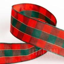 25mm Tartan Ribbon Red/Green x 10M