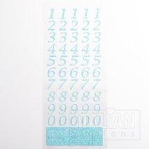 15mm - Script Self Adhesive Numbers - Blue Glitter