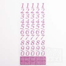 15mm - Script Self Adhesive Numbers - Pink Glitter