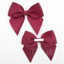 Burgundy - 10cm Grosgrain Ribbon Bow - (Self Adhesive) - 6 Pack