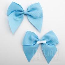 Pale Blue - 10cm Grosgrain Ribbon Bow - (Self Adhesive) - 6 Pack