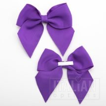 Purple - 10cm Grosgrain Ribbon Bow - (Self Adhesive) - 6 Pack