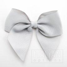 Silver - 10cm Grosgrain Ribbon Bow - (Self Adhesive) - 6 Pack