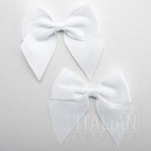 White - 10cm Grosgrain Ribbon Bow - (Self Adhesive) - 6 Pack