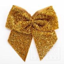 10cm Sparkle Bows (Self Adhesive) - 6 pcs - Antique Gold