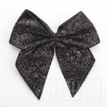 10cm Sparkle Bows (Self Adhesive) - 6 pcs - Black