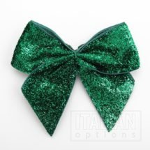 10cm Sparkle Bows (Self Adhesive) - 6 pcs - Emerald