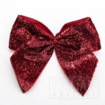 10cm Sparkle Bows (Self Adhesive) - 6 pcs - Ruby
