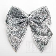 10cm Sparkle Bows (Self Adhesive) - 6 pcs - Silver