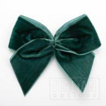 Bottle Green – 10cm Velvet Ribbon Bow – (Self Adhesive) – 6 Pack