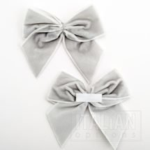 Silver – 10cm Velvet Ribbon Bow – (Self Adhesive) – 6 Pack