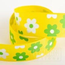 Daisy Grosgrain Ribbon 25mm x 10M - Yellow