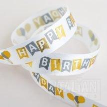 Happy Birthday Satin Ribbon 16mm x 10M - Banner & Balloon Design