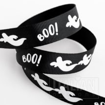 Halloween Ghosts BOO! Grosgrain Ribbon - 16mm x 5M - Black