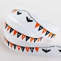 Halloween grosgrain ribbon with 'Happy Halloween' and bats design