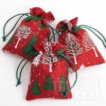 Red Hessian Bag Glitter Christmas Tree's - 100x140mm-10 Pack