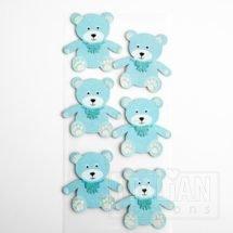 Baby Boy Craft Sticker Decoration - Teddy Bear Blue (6 Pack)