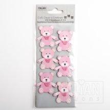 Baby Girl Craft Sticker Decoration - Teddy Bear Pink (6 Pack)