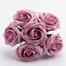 5cm x 5cm Colourfast Foam Roses (Bunch of 6) - Dusky Pink