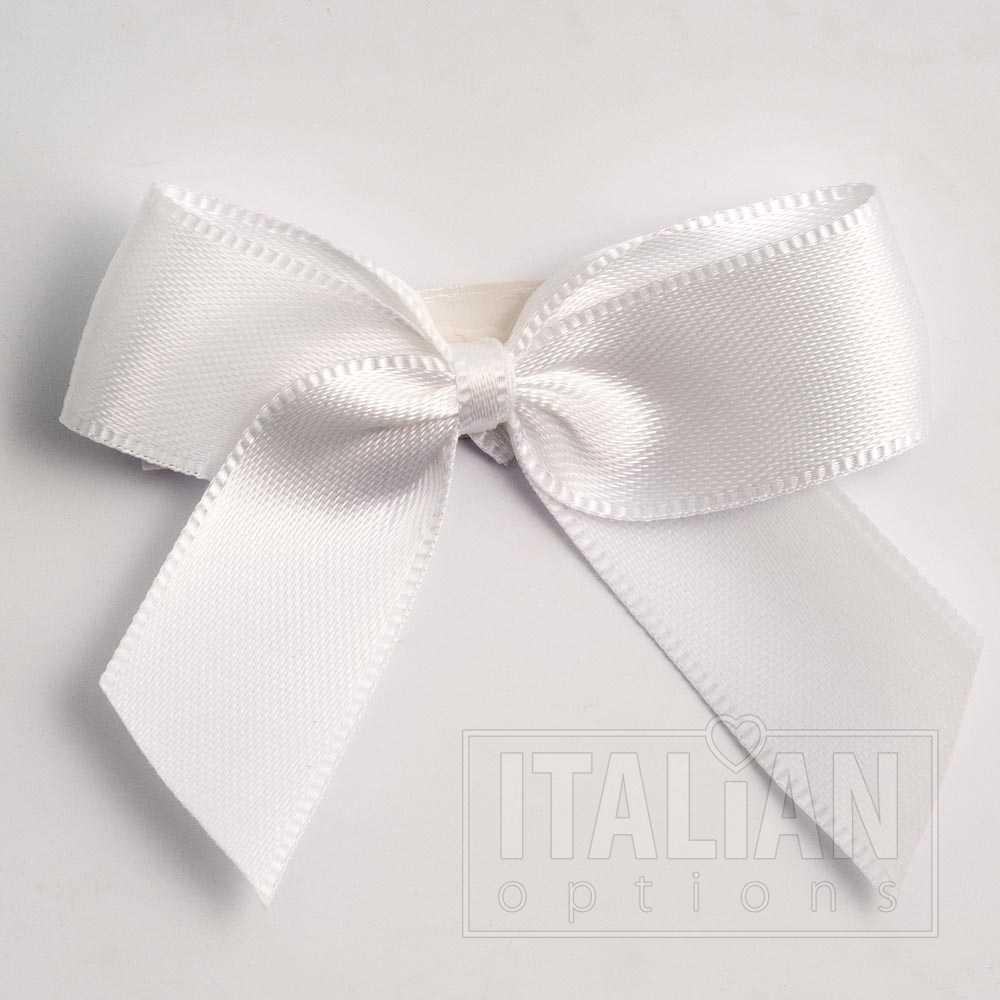 White Italian Options 3cm Satin Ribbon Bows 100 Pack