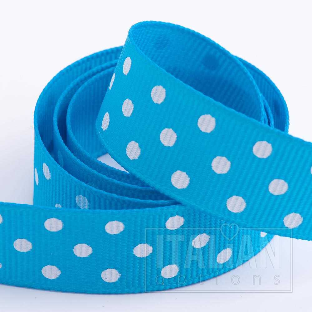 5cm Polka Dot Grosgrain Bows Self Adhesive Turquoise 5710