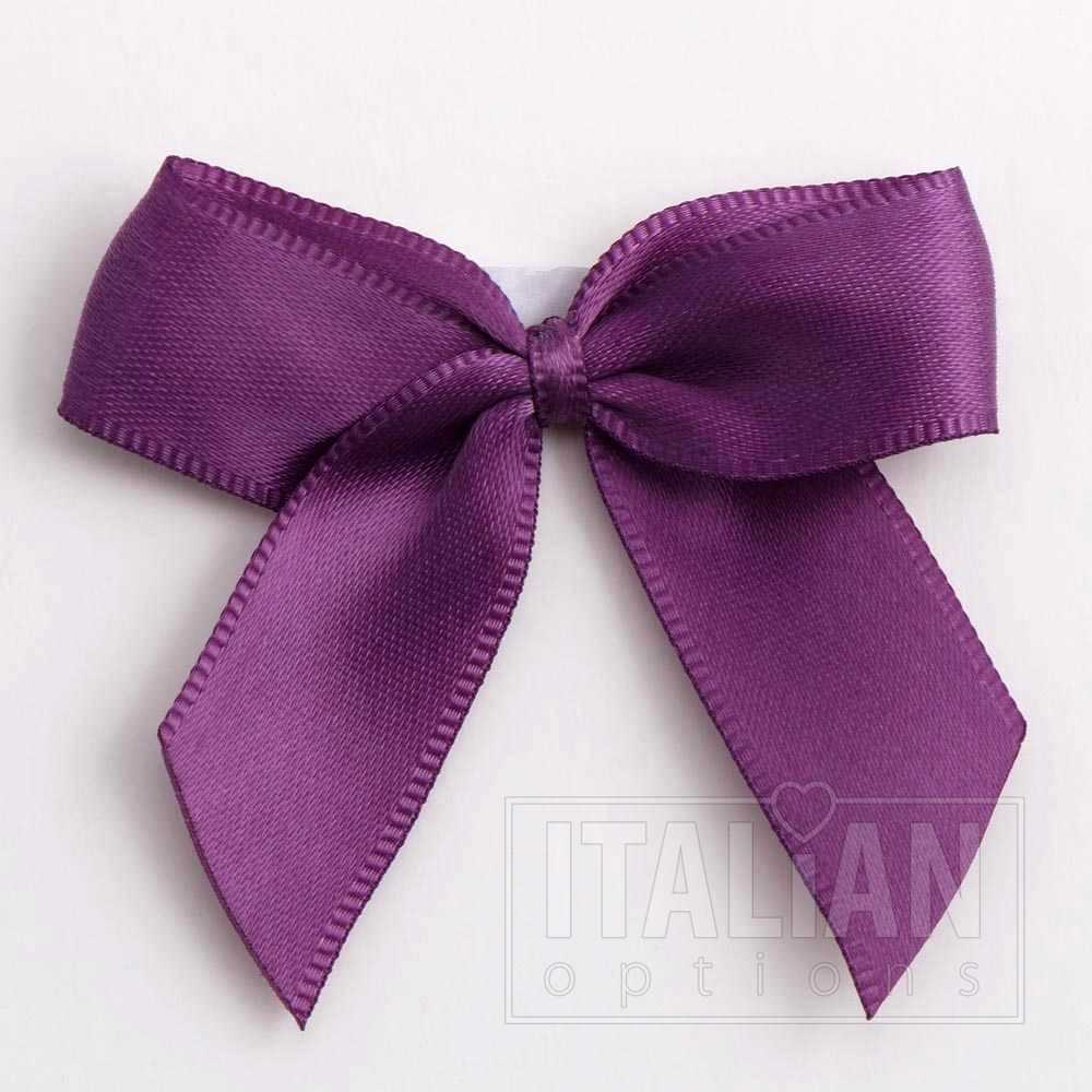 5cm Satin Bows Self Adhesive Purple